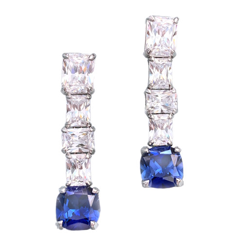 Elongate Octagon Faux Diamond with Cushion Cut Lab Sapphire Earrings