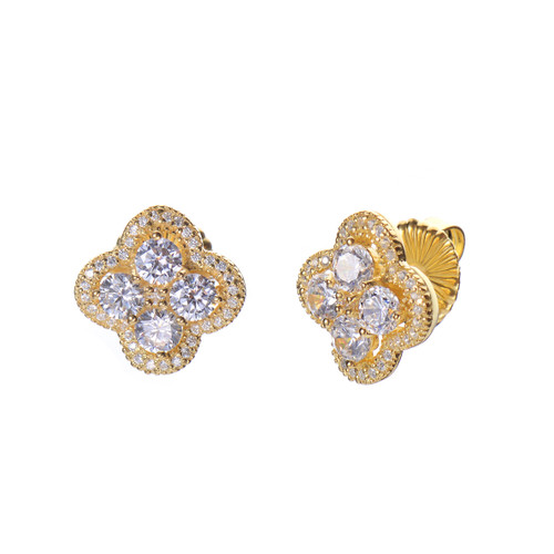 Quatrefoil-shape CZ Vermeil Stud Earrings