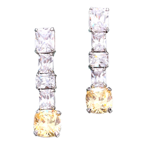 Elongate Octagon Faux Diamond with Cushion Cut Canary Earrings
