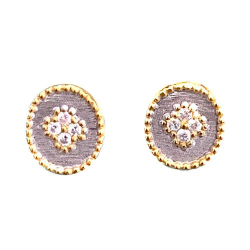Clover Pattern CZ Oval Stud Earrings
