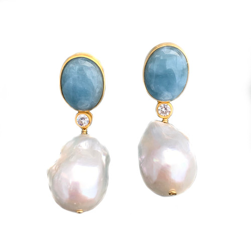 Oval Aquamarine and Baroque Pearl Drop Earrings