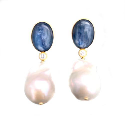 Oval Kyanite and Baroque Pearl Drop Earrings