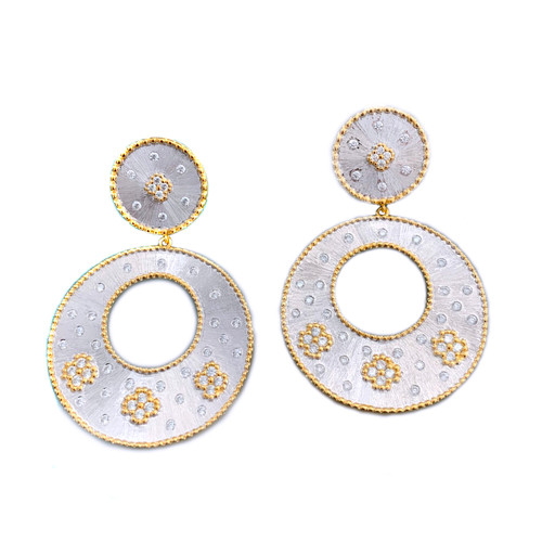 Clover-pattern Open Circle Two-tone Drop Earrings