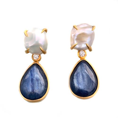 Cultured Pearl & Pear Kyanite Drop Earrings