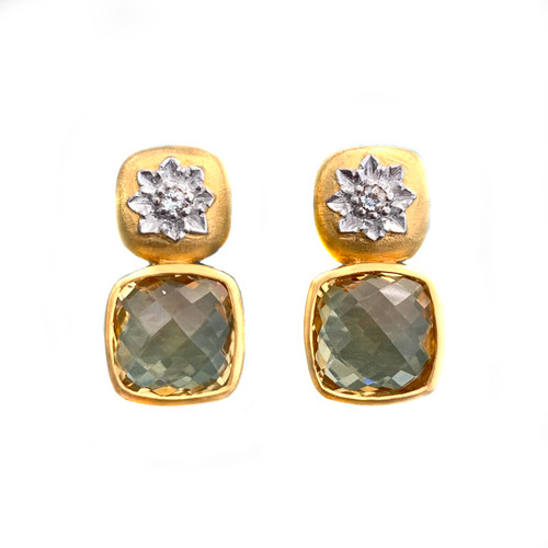Engraved Flower with Cushion Citrine Drop Earrings