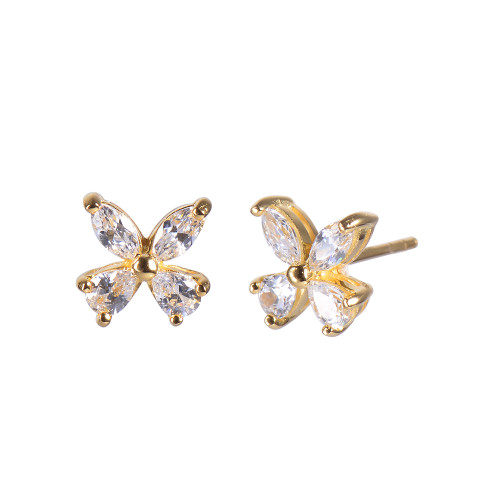 Butterfly CZ Stud Earrings in Gold Plate