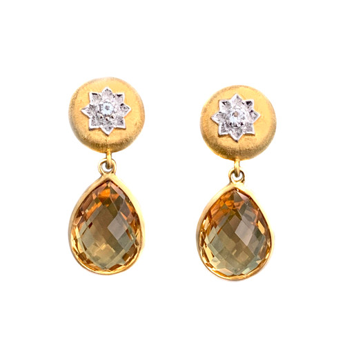 Engraved Flower with Pear Citrine Drop Earrings