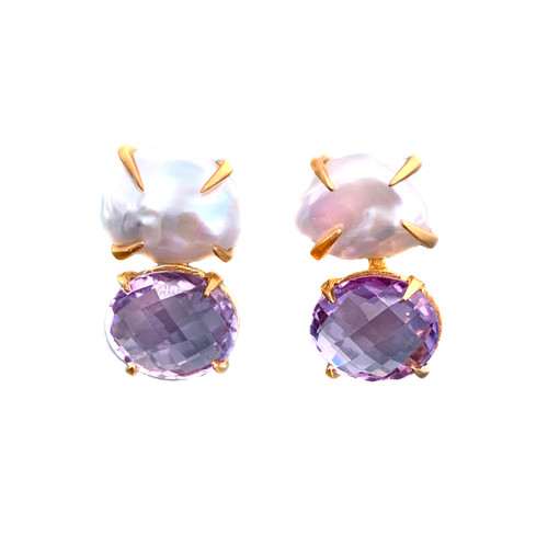 Cultured Baroque Pearl and Oval Amethyst Earrings