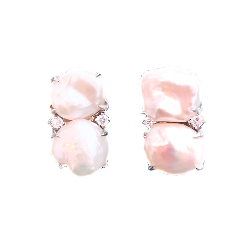 Double Cultured Baroque Pearl Button Earrings
