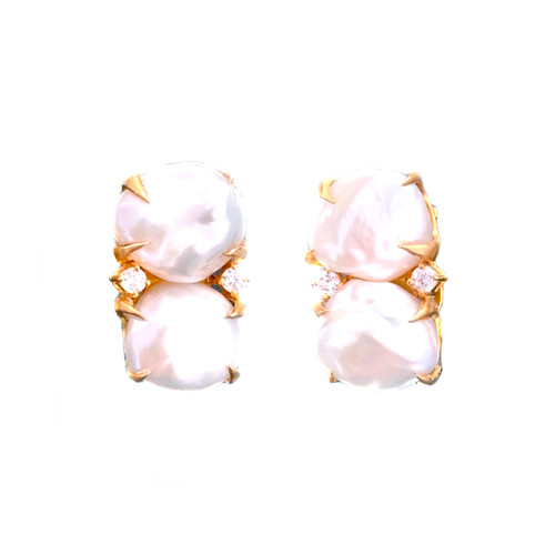 Double Cultured Baroque Pearl Button Vermeil Earrings