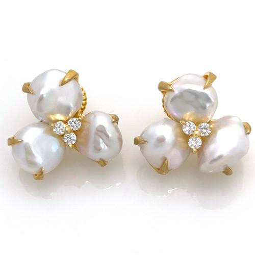 3 Petal Cultured Baroque Pearl Flower Vermeil Earrings