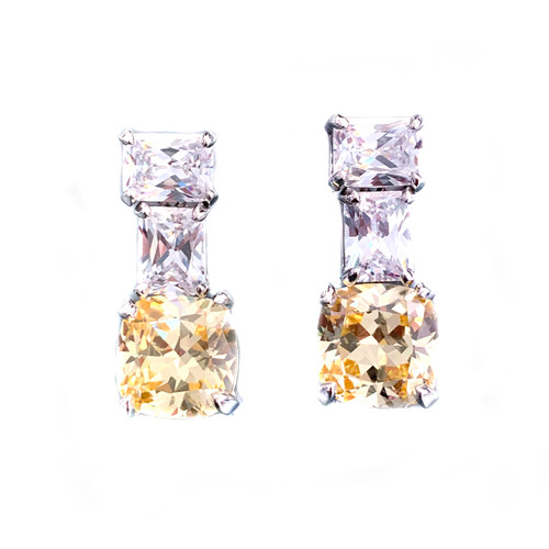 Double Octagon Faux Diamond with Cushion Cut Canary Drop Earrings