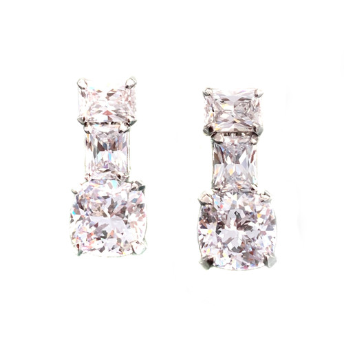 Double Octagon with Cushion Cut Faux Diamond Drop Earrings