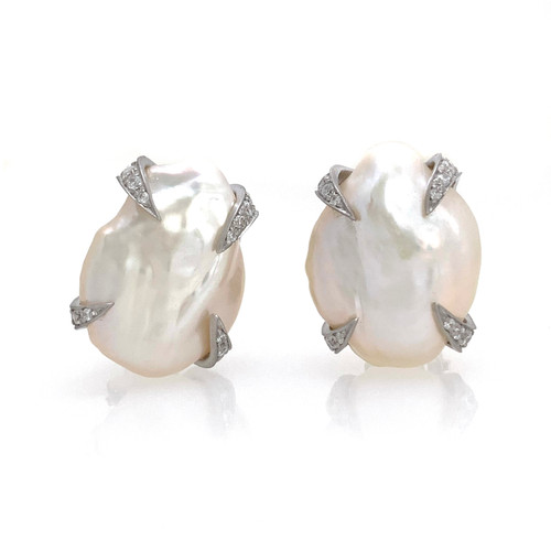 18mm Cultured Baroque Pearl Button Earrings