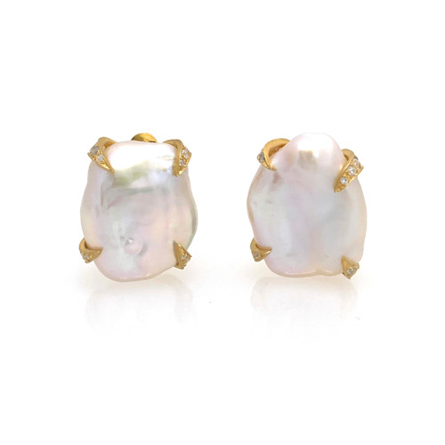 18mm Cultured Baroque Pearl Button Vermeil Earrings