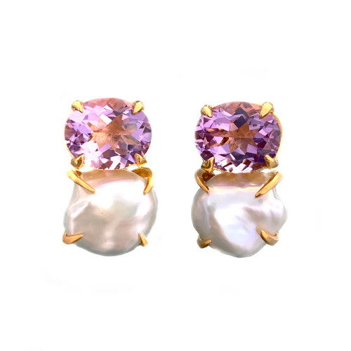 Oval Amethyst and Cultured Baroque Pearl Earrings