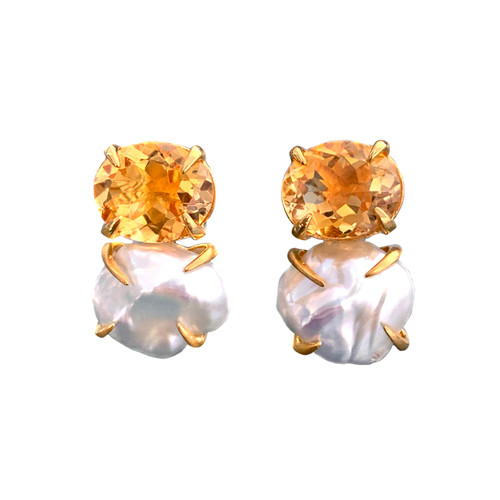 Oval Citrine and Cultured Baroque Pearl Earrings