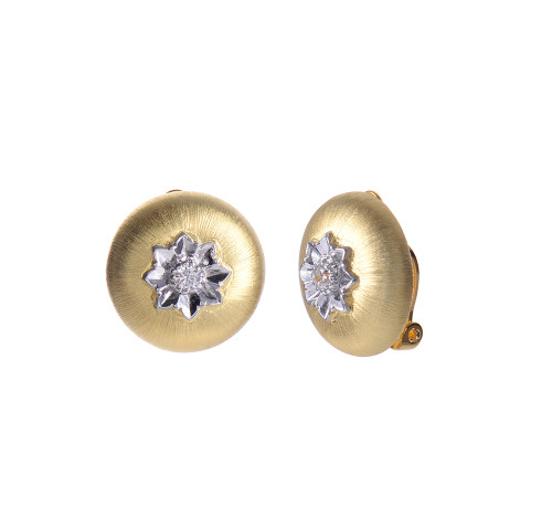Engraved Flower Round Button Clip-on Vermeil Earrings
