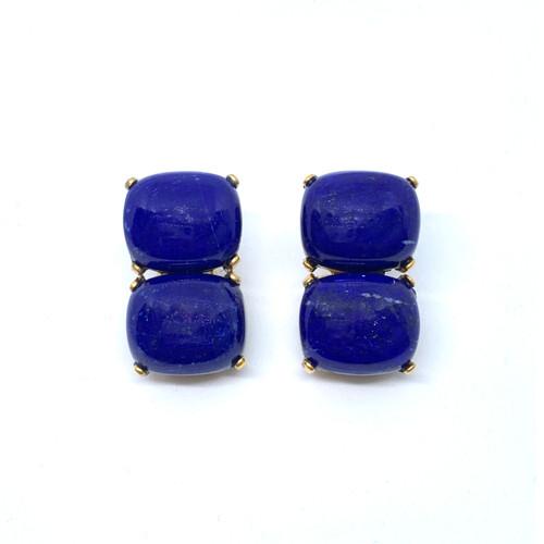 Double Cushion Lapis Lazuli Button Earrings