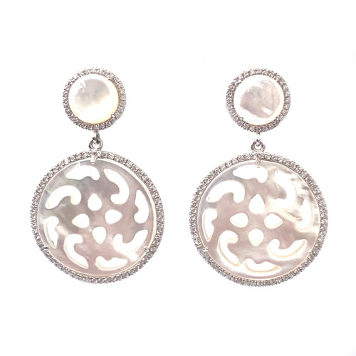 Filigree Round Mother of Pearl Dangle Earrings
