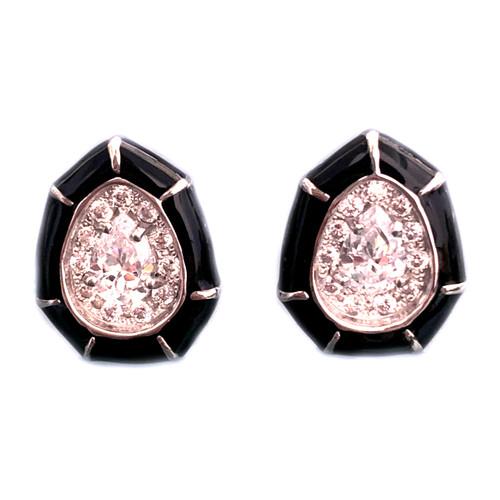 Pear-shape Black Enamel Stud Earrings
