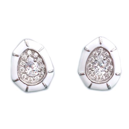 Pear-shape White Enamel Stud Earrings
