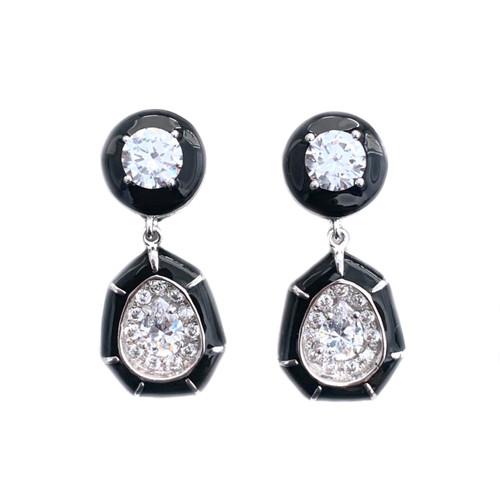 Pear-shape Black Enamel Drop Earrings