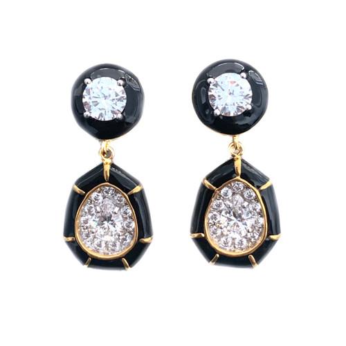 Pear-shape Black Enamel Drop Vermeil Earrings