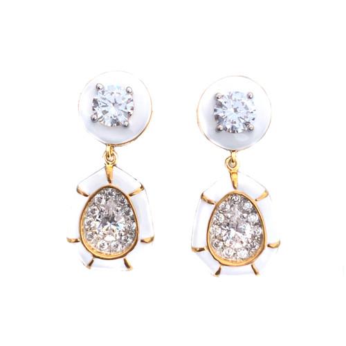 Pear-shape White Enamel Drop Vermeil Earrings