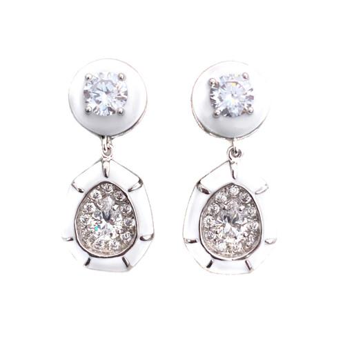 Pear-shape White Enamel Drop Earrings