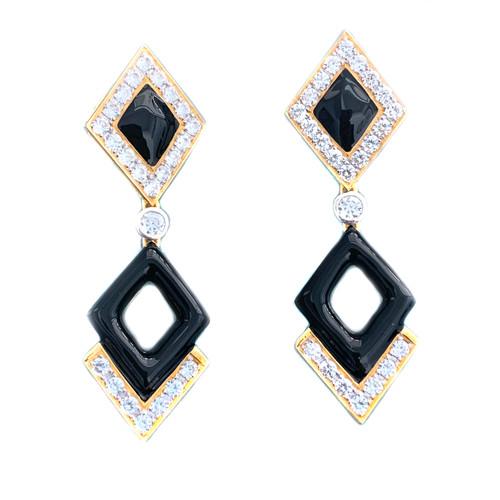 Double Diamond Motif Black Enamel Drop Vermeil Earrings