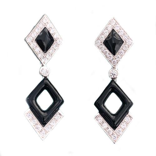 Double Diamond Motif Black Enamel Drop Earrings