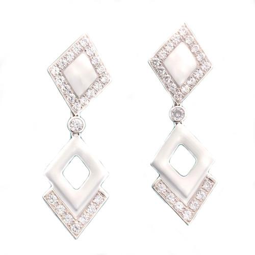 Double Diamond Motif White Enamel Drop Earrings