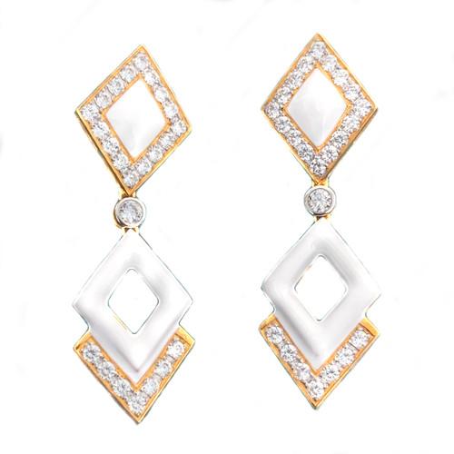 Double Diamond Motif White Enamel Drop Vermeil Earrings