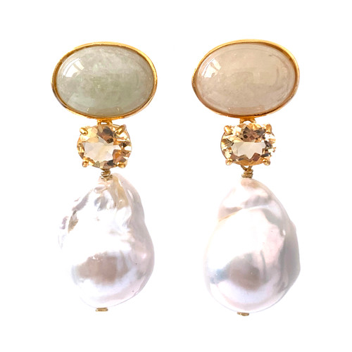 Oval Beryl and Cultured Baroque Pearl Drop Earrings