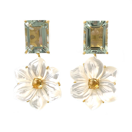 Octagon Green Amethyst and Carved Mother of Pearl Flower Drop Earrings