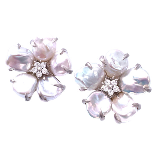 5 Petal Cultured Baroque Pearl Flower Earrings