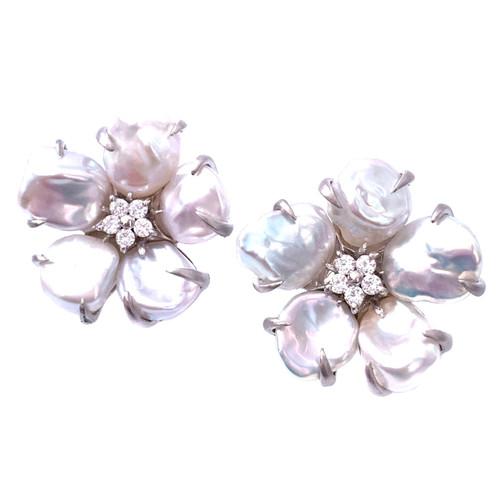 5 Petal Cultured Baroque Pearl Flower Earrings