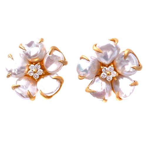 5 Petal Cultured Baroque Pearl Flower Vermeil Earrings