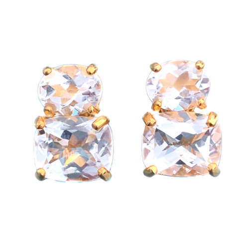 Oval & Cushion White Topaz Button Vermeil Earrings