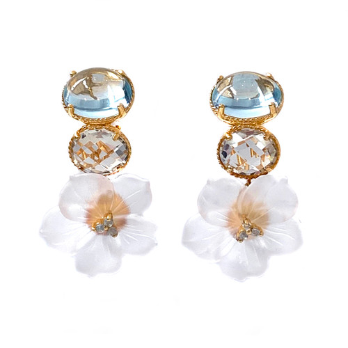 Double Oval Blue Topaz,  Green Amethyst, and Carved Frosted Quartz Flower Drop Earrings