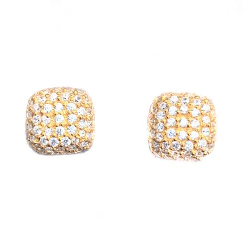 Square Pave Stud Vermeil Earrings
