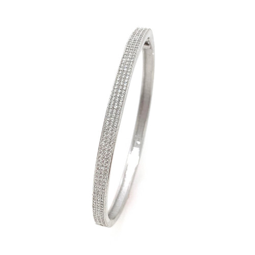 3-row Micropave Bangle Bracelet