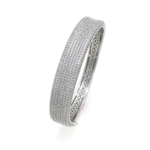 9-row Micropave Elegance Bangle Bracelet