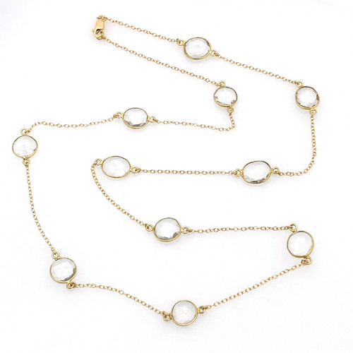 Bezel-set Clear Quartz Long Station Necklace