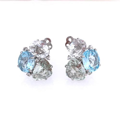 Triple Gemstone Green Amethyst Blue Topaz White Topaz Clip-on Earrings