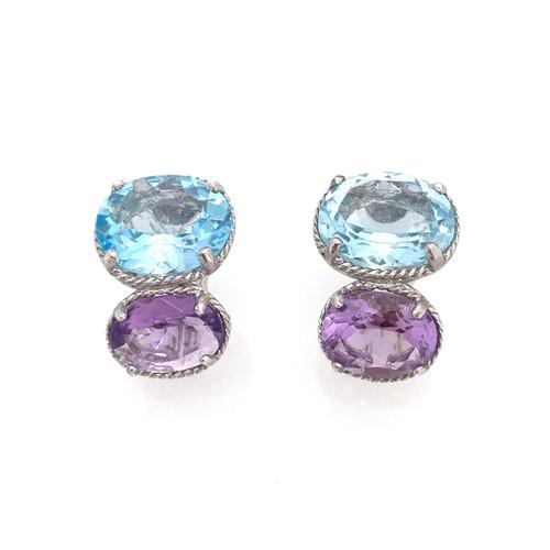 Double Oval Blue Topaz and  Amethyst Earrings