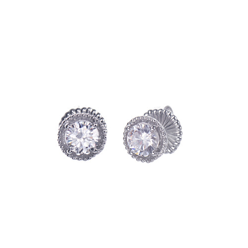 1ct Round Halo Stud Earrings