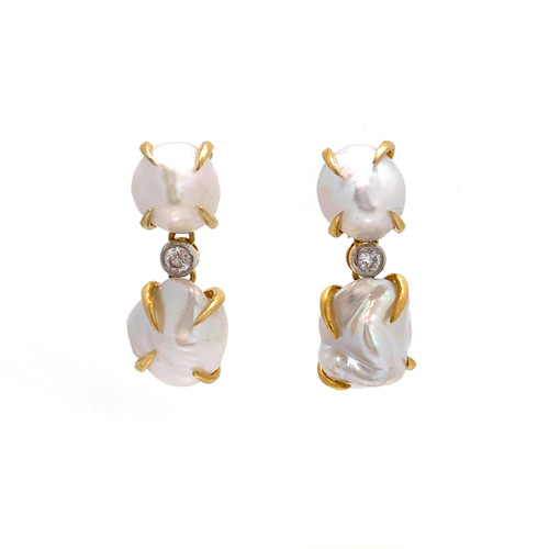 Double Cultured Baroque Pearl Drop Vermeil Earrings