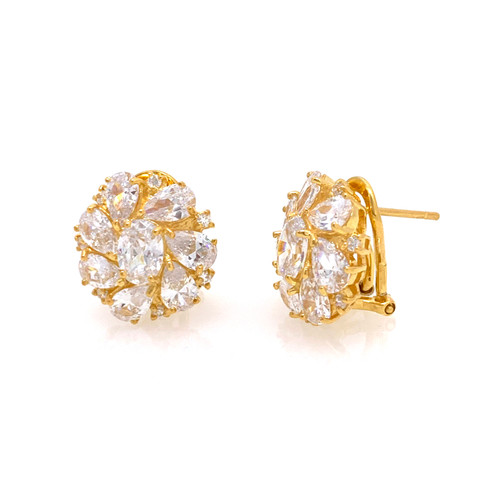Cluster Oval and Pear Faux Diamond Vermeil Earrings